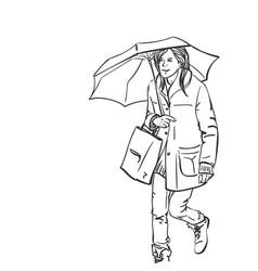 Young woman walking under umbrella holding vector