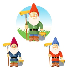 Collection of garden gnomes vector image