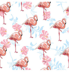 flamingo seamless pattern on mint green vector image