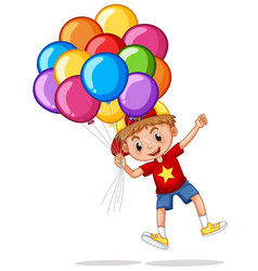 happy boy with colorful balloons vector image vector image
