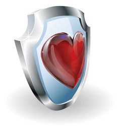 heart on 3d shield icon vector image vector image