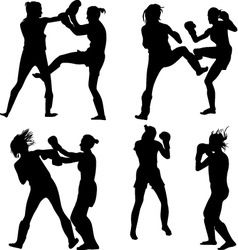 kickboxing woman vector image