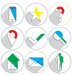 Website icons with a long shadow vector image vector image