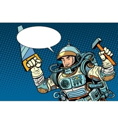 Astronaut with tools for repair vector image vector image