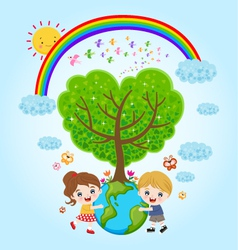 children earth rainbow vector image