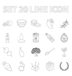 olive food outline icons in set collection for vector image vector image