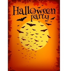 Orange Halloween party background with bats and vector image