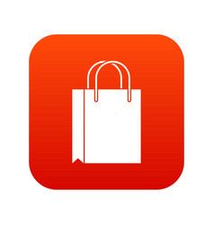 shopping bag icon digital red vector image