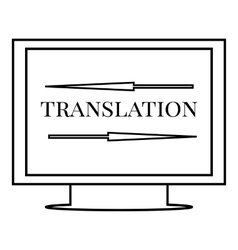 Translation on monitor icon outline style vector image