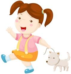woman walking dog vector image