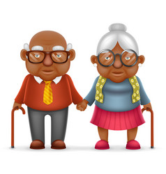 afro american cute smile happy elderly couple old vector image