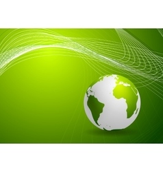 Green background with globe and lines vector image