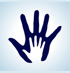 hand in hand rendering idea of help assistance vector image vector image