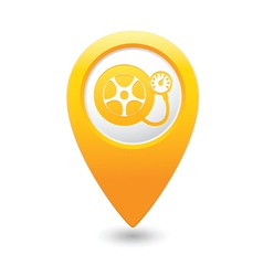 wheel pump icon yellow map pointer vector image vector image