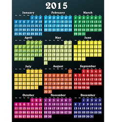 2015 calendar with flat numbers and long shadows vector image