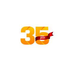 35 years anniversary celebration yellow with red vector