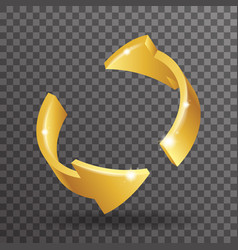 abstract golden rotation arrows 3d design elements vector image