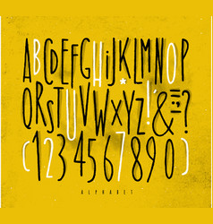 alphabet straight lines font yellow vector image