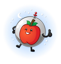 apple in space cartoon character vector image