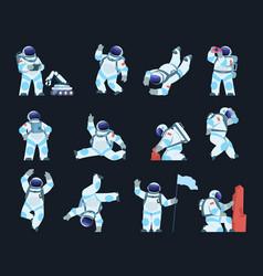 Astronaut cartoon spaceman in different poses vector