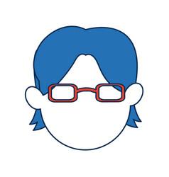 Avatar man face wear orange glasses cartoon vector