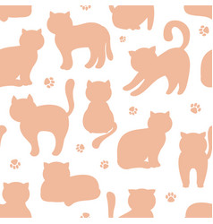 background seamless pattern with cats flat vector image