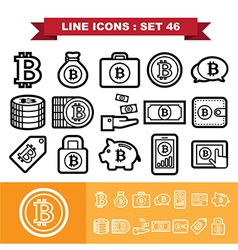 Bitcoin Line icons set 46 vector