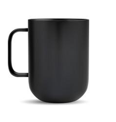 black cup ceramic coffee or tea mug mock up vector image