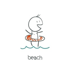 Boy on the beach vector image vector image