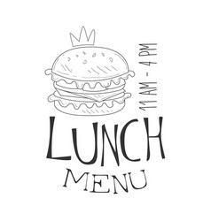 cafe lunch menu promo sign in sketch style with vector image