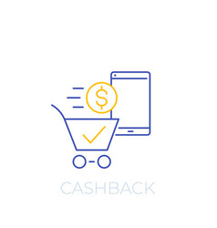 cashback offer line icon vector image