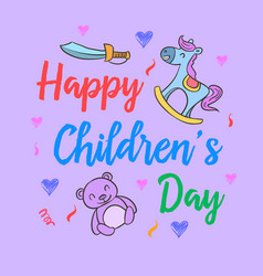 Childrens day with toy style collection vector