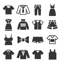 clothing icons set on white background vector image