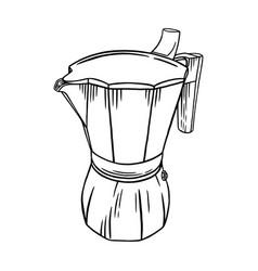 Coffee moka pot engraved brew vector