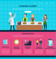 Colorful cooking classes web page template vector