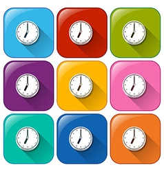 Colourful buttons with clocks vector