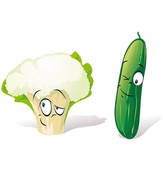 Cucumber and cauliflower vector