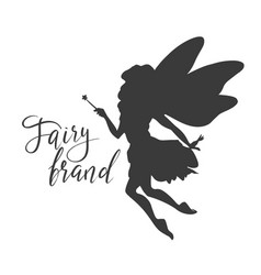 Cute flying fairy with magic wand fairy brand vector
