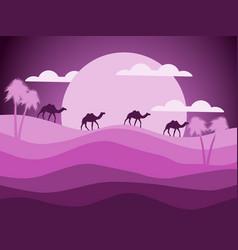 desert landscape with a caravan of camels vector image