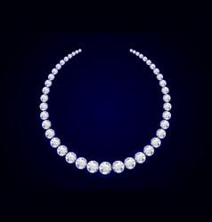 diamond necklace on dark background realistic vector image