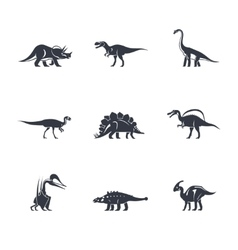 Dinosaurs silhouettes icons vector