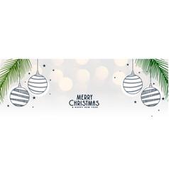 Elegant white merry christmas banner with balls vector