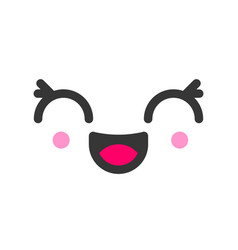 Excited kawaii cute emotion face emoticon vector