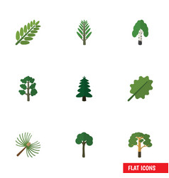 Flat icon bio set of forest jungle alder and vector