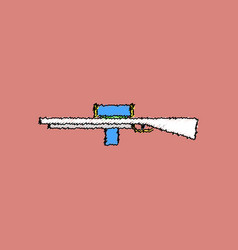 Flat shading style icon military sniper rifle vector