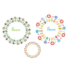 Flowers circle frames set vector image