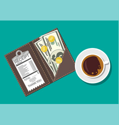 Folder with cash coins cashier check coffee cup vector
