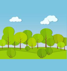 forest woods cardboard paper landscape park green vector image
