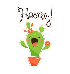 funny cactus yells hooray in vector image