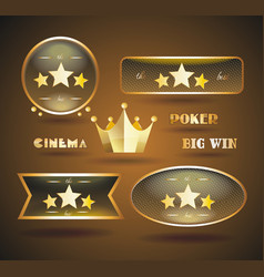 gold sign set for online casino poker roulette vector image